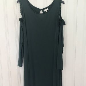 Charming Charlie Hunter Gree Cold Shoulder Dress